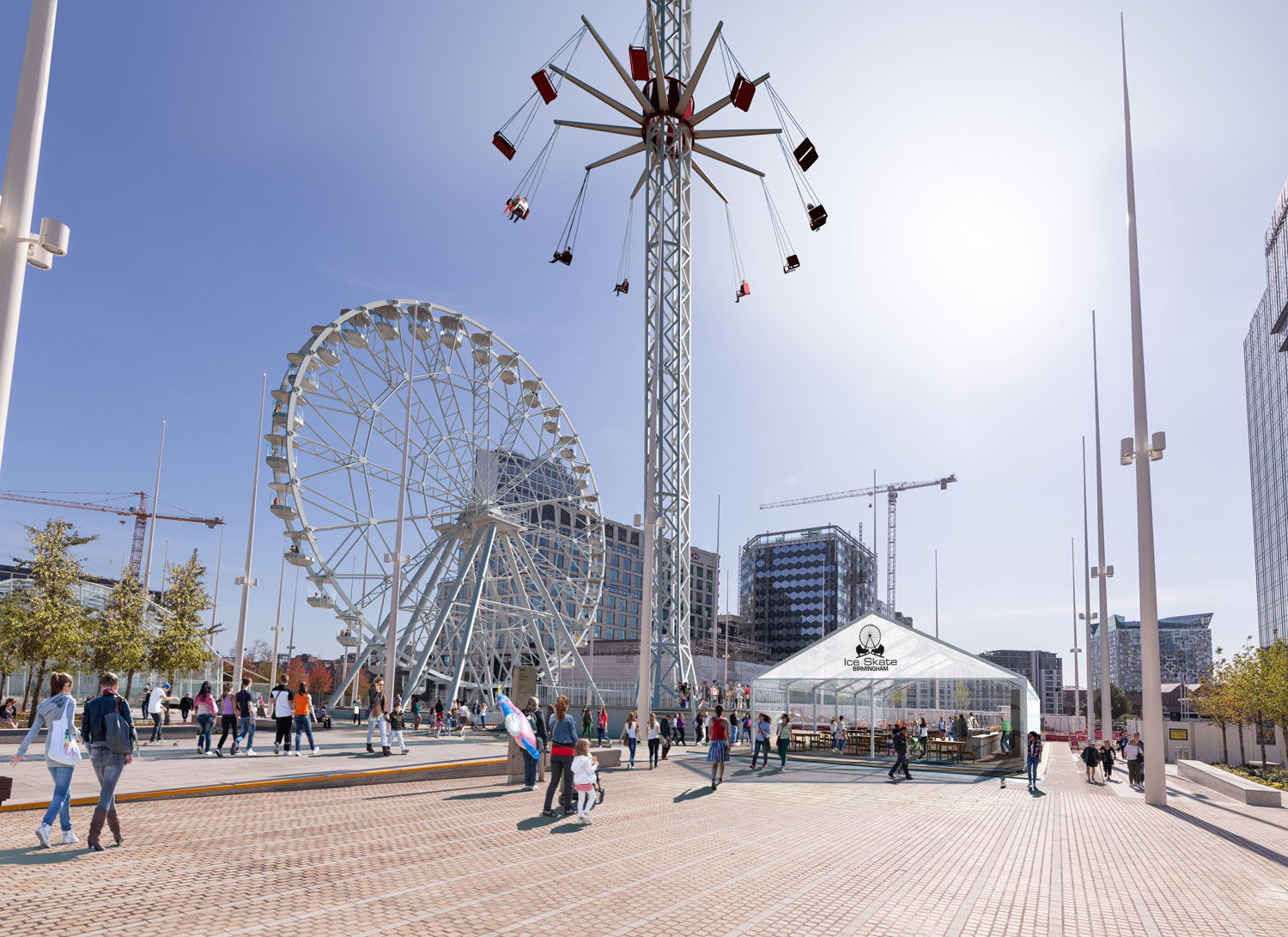 Existing/Proposed – Ground Level View of Ice Bar, City Flyer and Big Wheel
